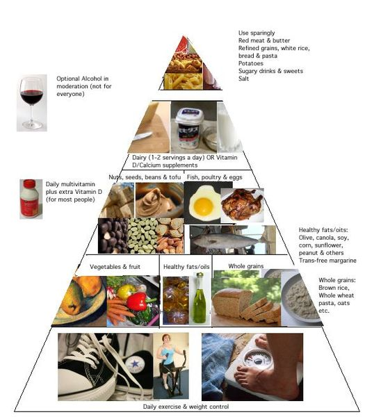 Source:  SusanLesch - http://commons.wikimedia.org/wiki/File:Healthy_eating_pyramid.jpg