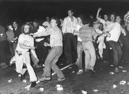 The Star Riot in full swing on the night of September 19, 1979.