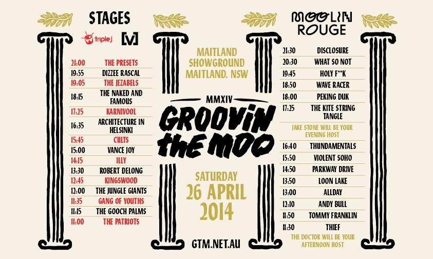 Groovin' The Moo Maitland timetable 2014 | Newcastle Live
