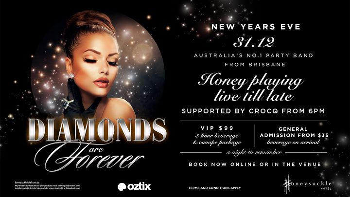 Diamonds are Forever New Years Eve party at Honeysuckle Hotel