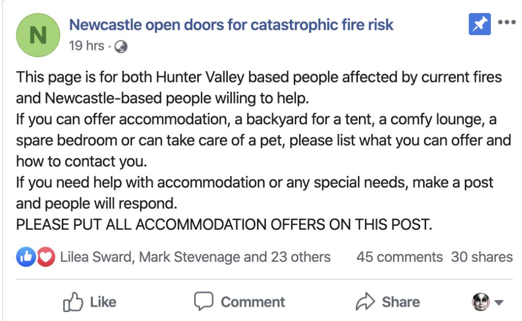 Newcastle open doors for catastrophic bushfire risk