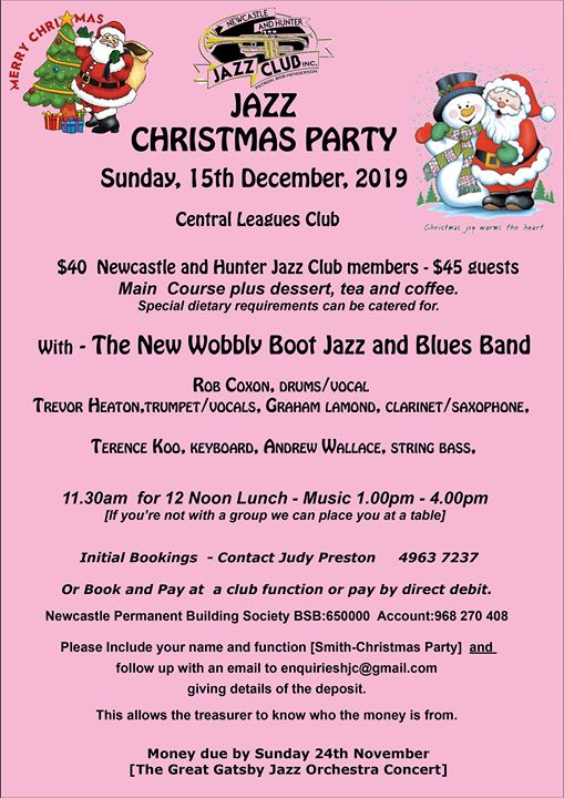 Newcastle Jazz Christmas Party With Wobbly Boot