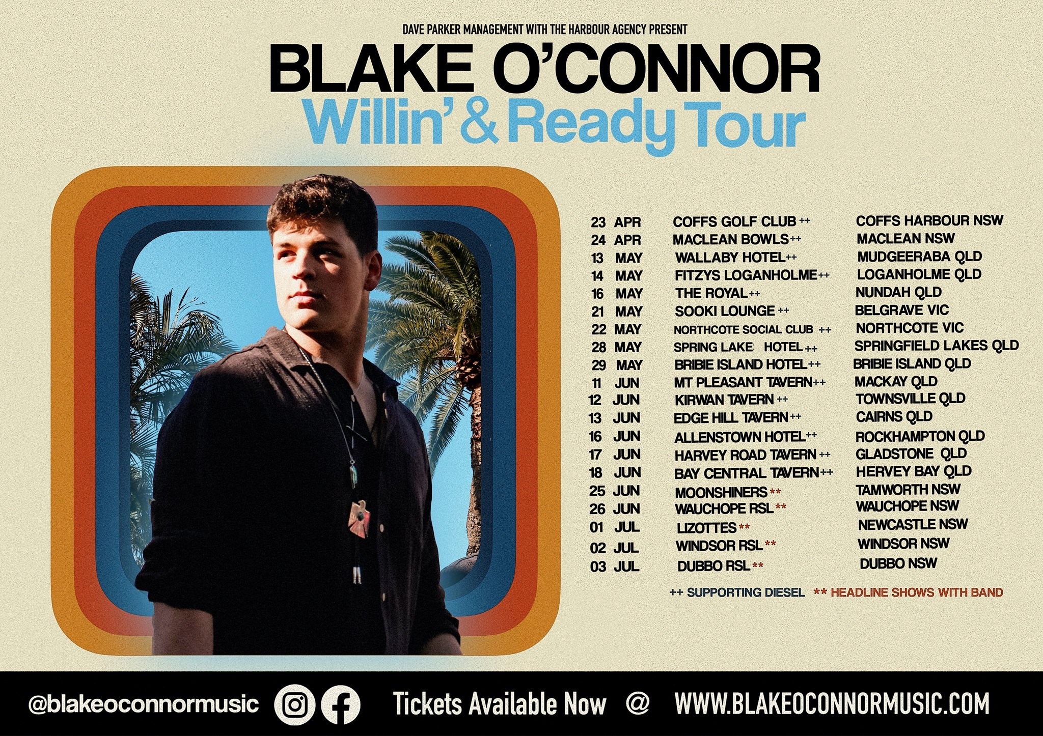 BLAKE O'CONNOR & BAND- WILLIN' AND READY TOUR