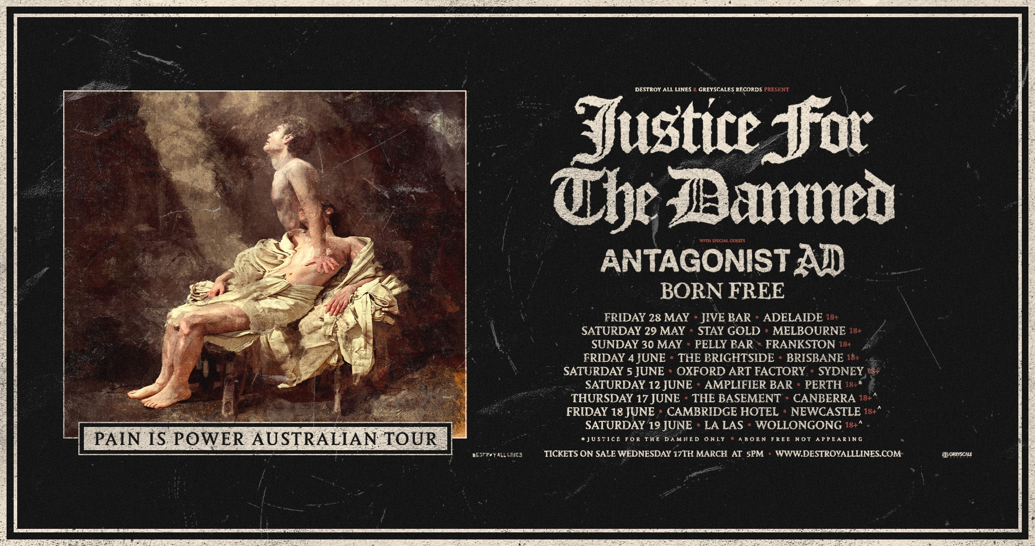 Justice For The Damned Aus Tour 2021 – Newcastle
