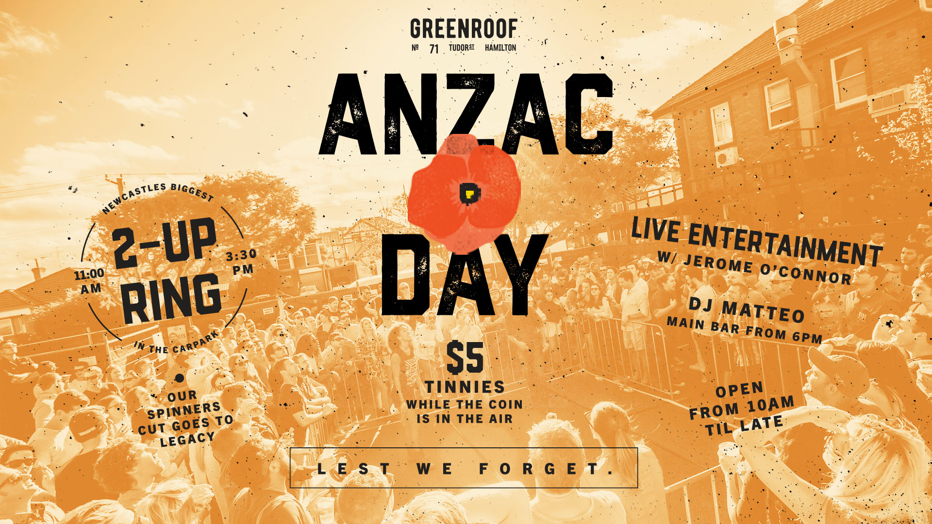 ANZAC DAY at The Greenroof • 2 UP in the Carpark