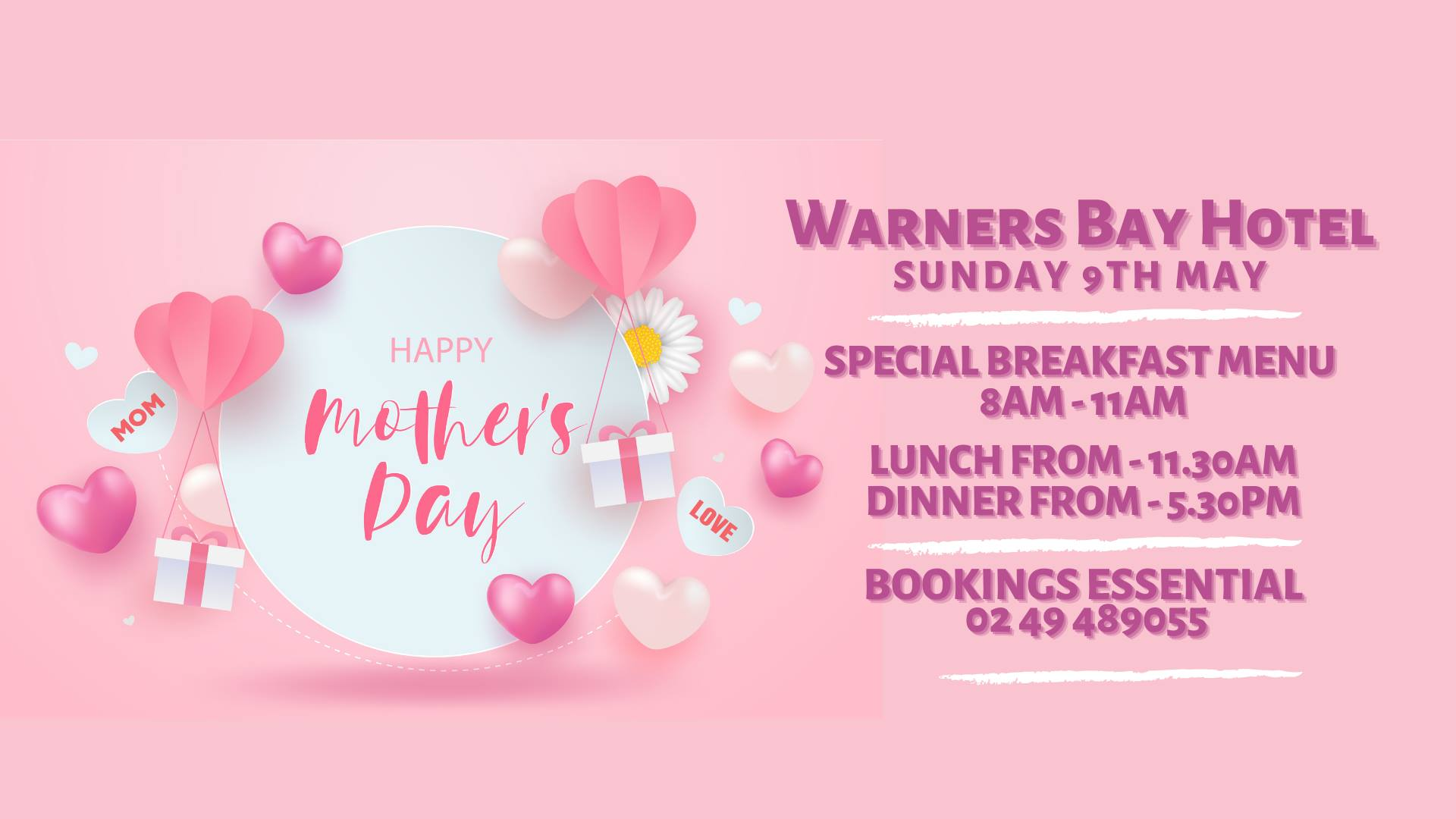 Mother's Day at Warners  Bay Hotel.