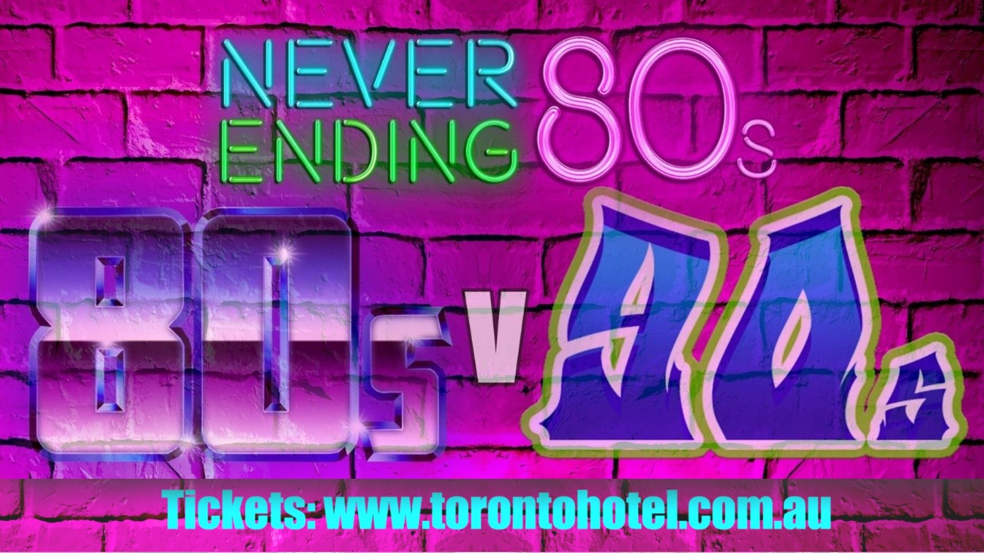 Never Ending 80s presents 80s V 90s – The Battle Of The Decades!