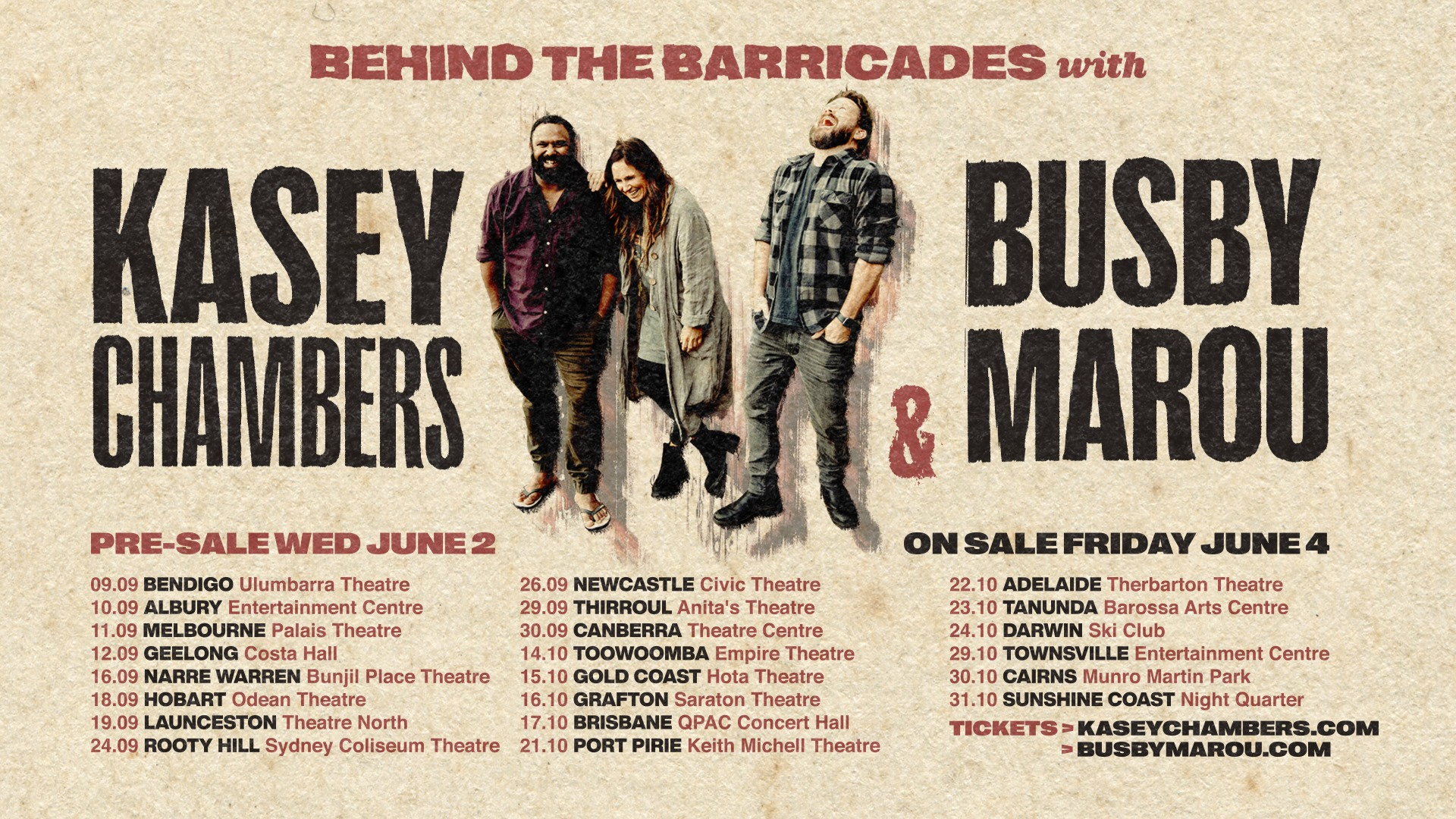 Kasey Chambers & Busby Marou – Behind The Barricades Tour