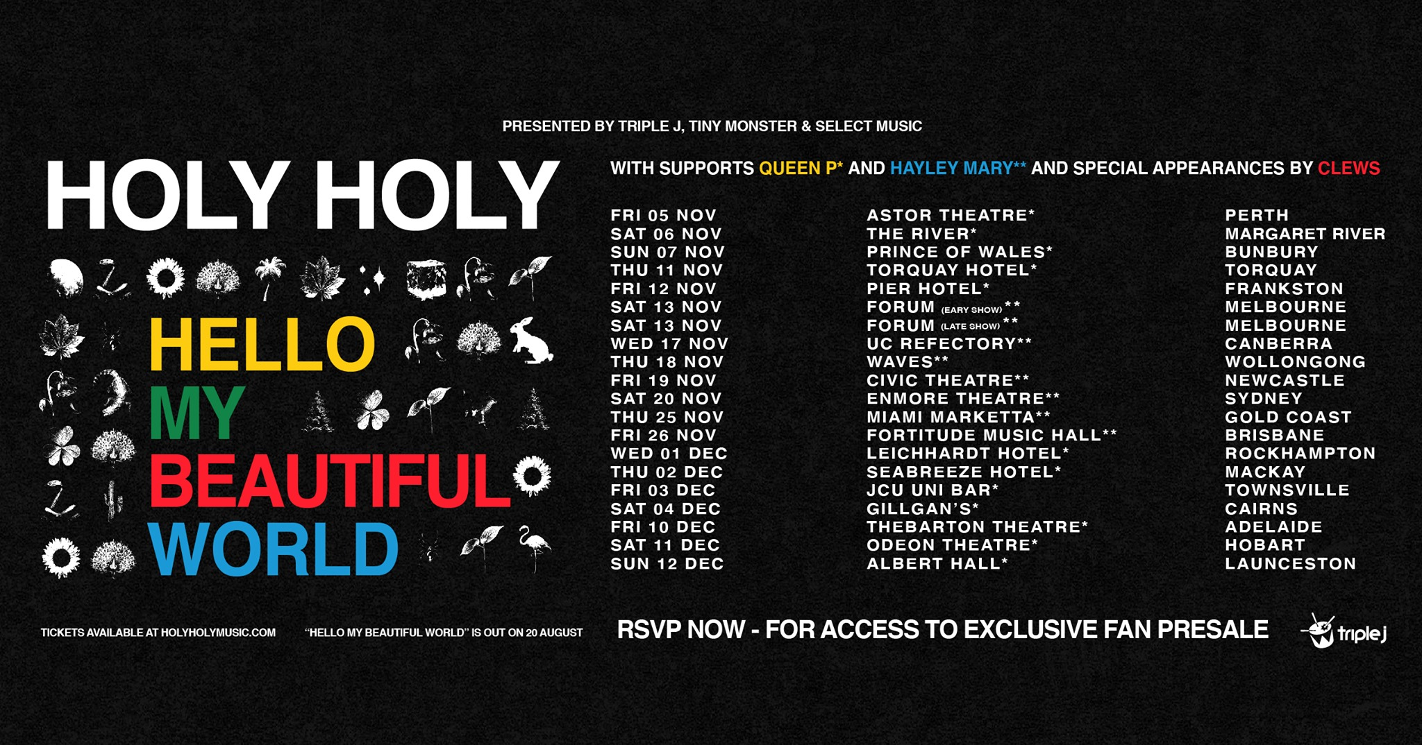 HOLY HOLY – ALBUM TOUR – NEWCASTLE NSW (WITH HAYLEY MARY)
